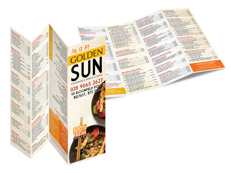 Golden Sun (Four folds takeaway menu design & print)
