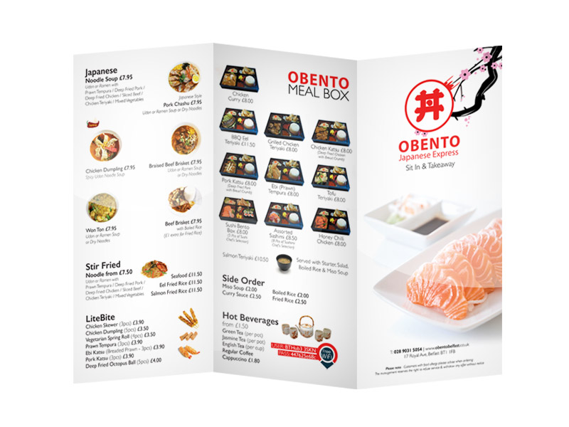 Obento Japanese Express (Sit In Menu Design & Print)